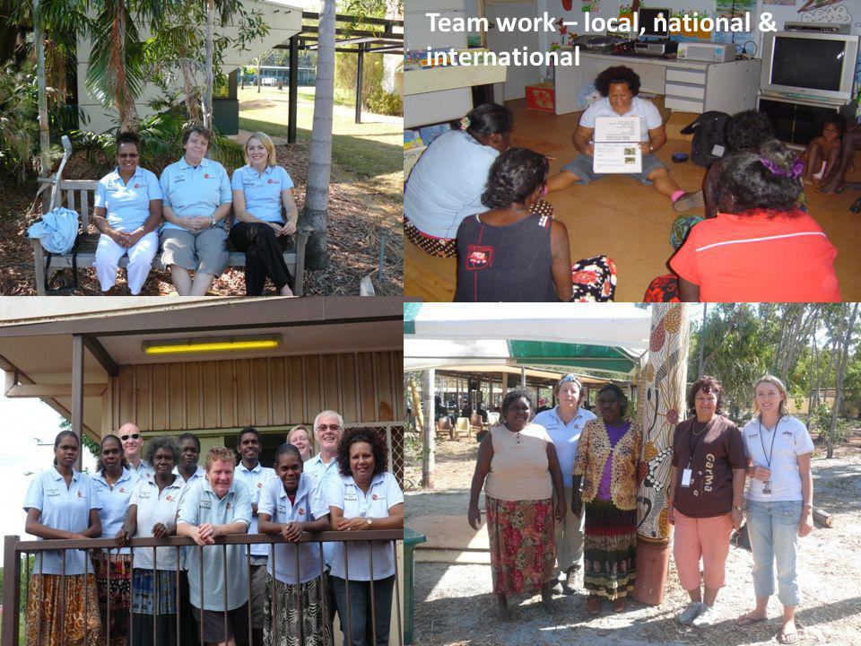 Team work – local, national & international