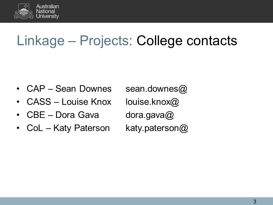 3 Linkage – Projects: College contacts CAP – Sean Downessean.downes@ CASS – Louise Knoxlouise.knox@ CBE – Dora Gava dora.gava@ CoL – Katy Patersonkaty.paterson@