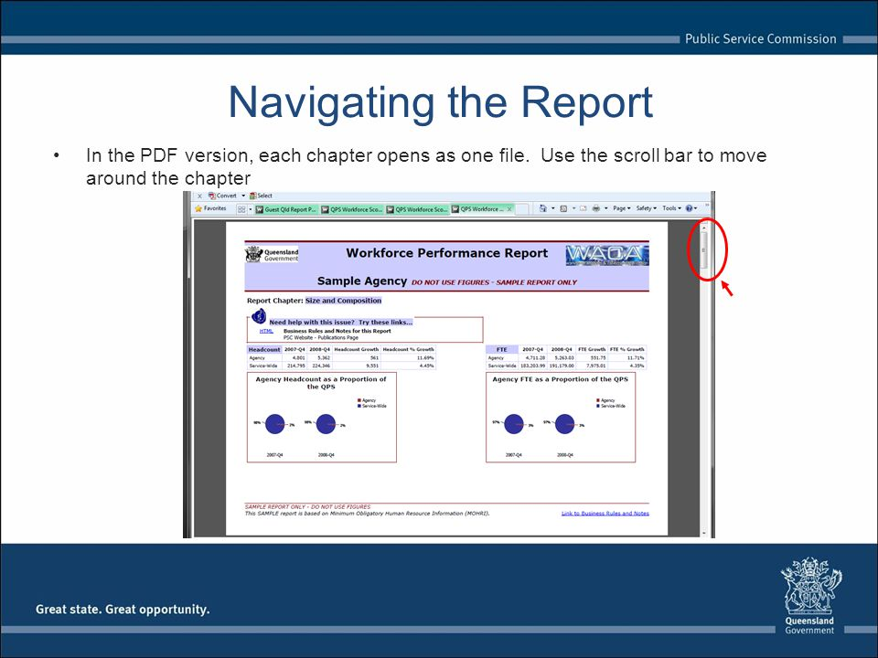 Navigating the Report In the PDF version, each chapter opens as one file.