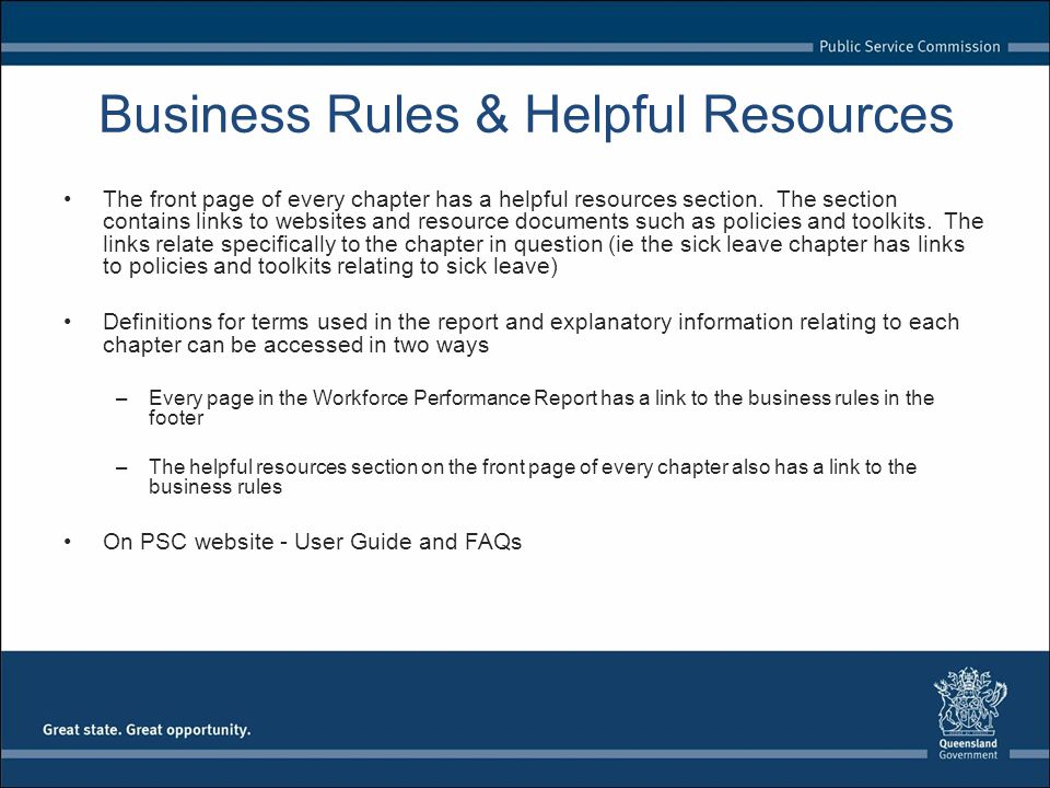 Business Rules & Helpful Resources The front page of every chapter has a helpful resources section.