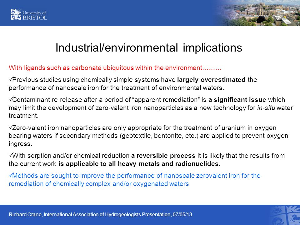 Industrial/environmental implications With ligands such as carbonate ubiquitous within the environment……… Previous studies using chemically simple sys