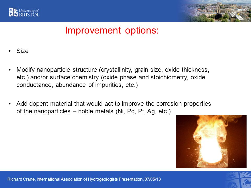 Improvement options: Size Modify nanoparticle structure (crystallinity, grain size, oxide thickness, etc.) and/or surface chemistry (oxide phase and s