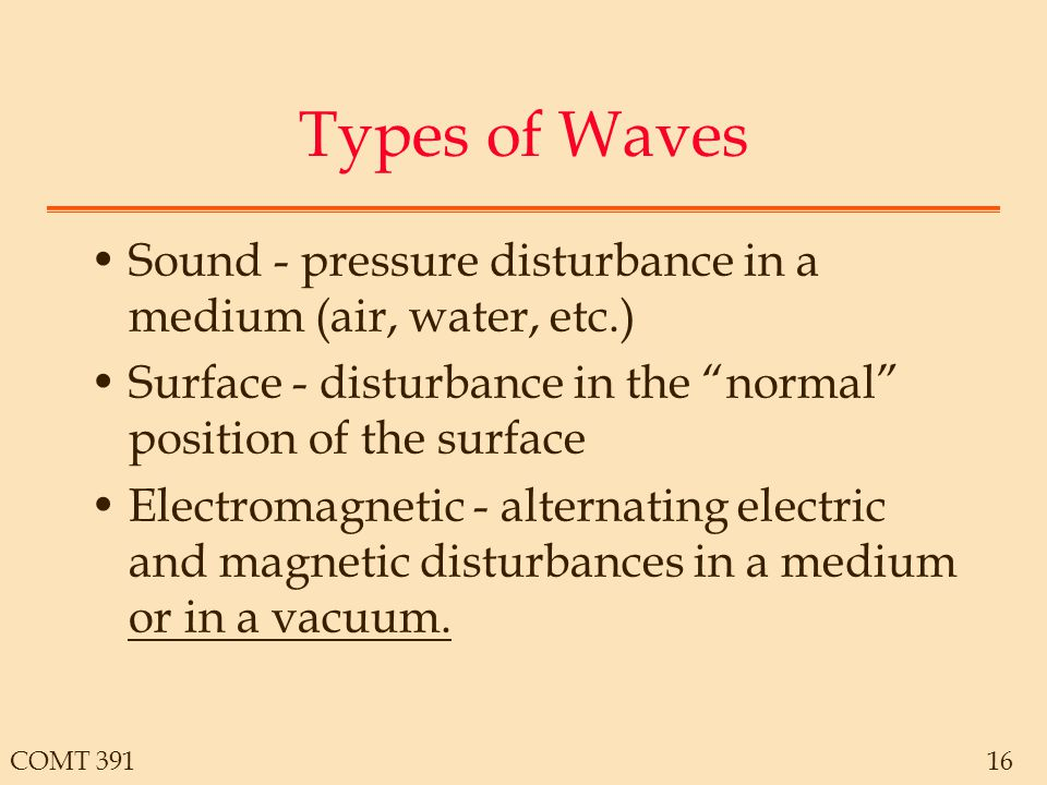 COMT 39116 Types of Waves Sound - pressure disturbance in a medium (air, water, etc.) Surface - disturbance in the normal position of the surface Electromagnetic - alternating electric and magnetic disturbances in a medium or in a vacuum.