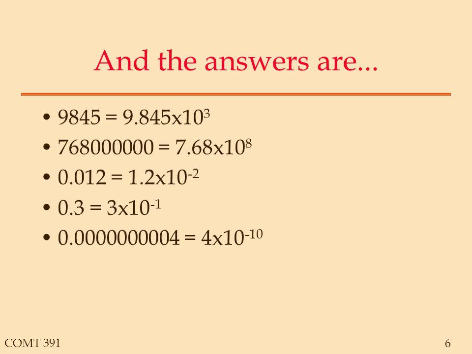 COMT 3917 Number Prefixes Prefix designates powers of 10  0.00000110 -6 m0.00110 -3 c0.0110 -2 k100010 3 M100000010 6 G100000000010 9