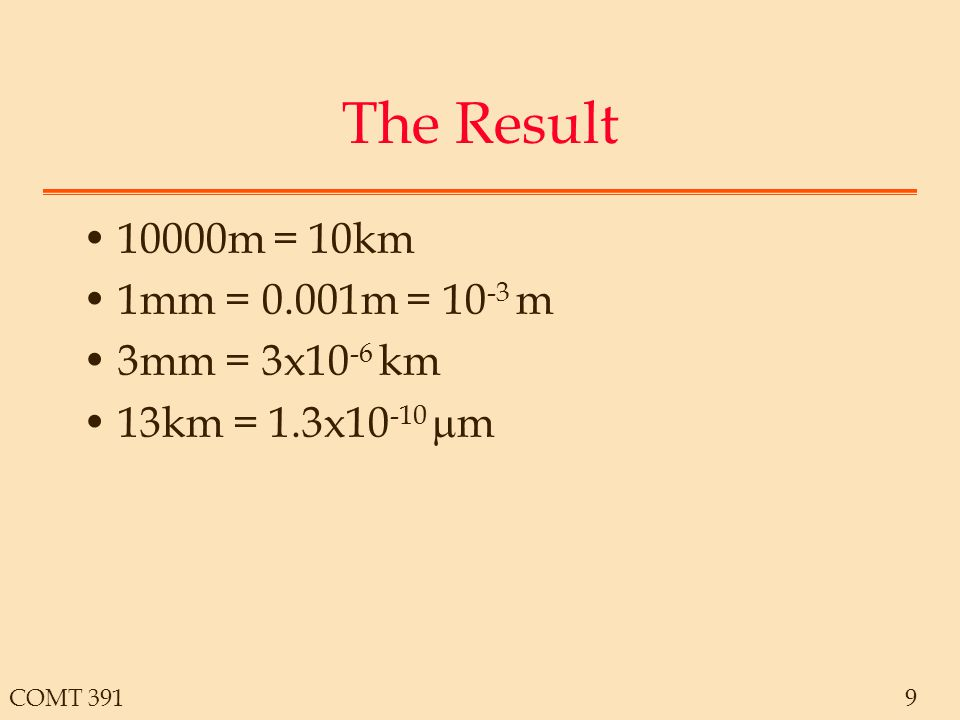 COMT 3919 The Result 10000m = 10km 1mm = 0.001m = 10 -3 m 3mm = 3x10 -6 km 13km = 1.3x10 -10  m