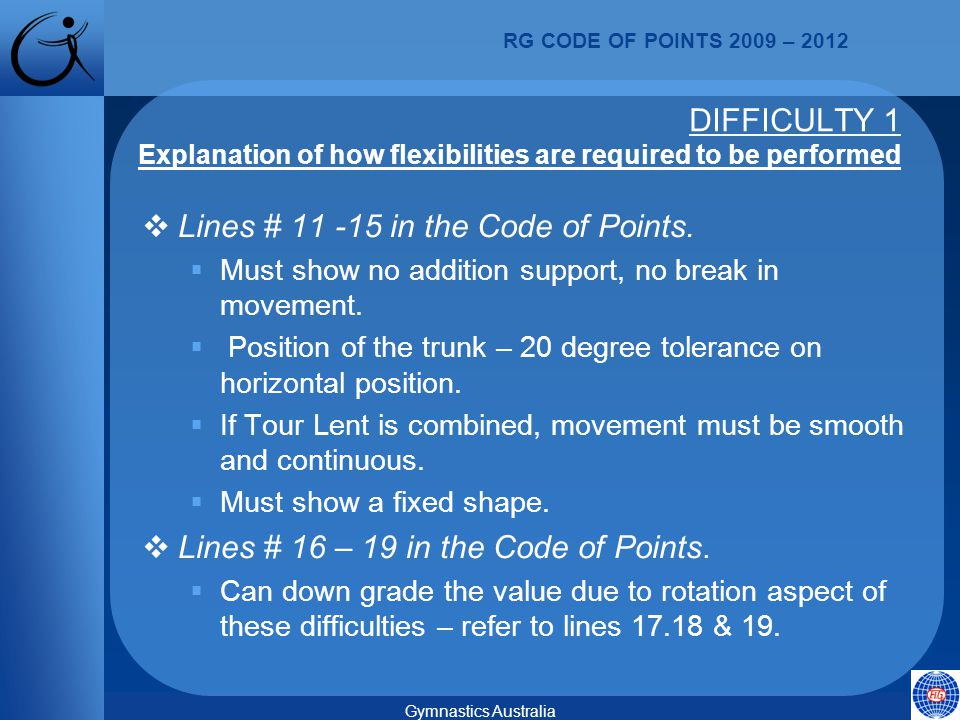 RG CODE OF POINTS 2009 – 2012 Gymnastics Australia  Lines # 11 -15 in the Code of Points.