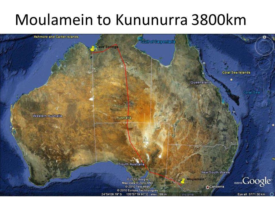 Moulamein to Kununurra 3800km