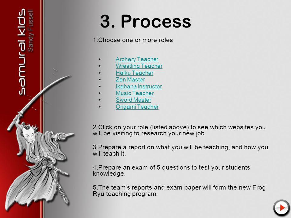 3. Process 1.Choose one or more roles Archery Teacher Wrestling Teacher Haiku Teacher Zen Master Ikebana Instructor Music Teacher Sword Master Origami