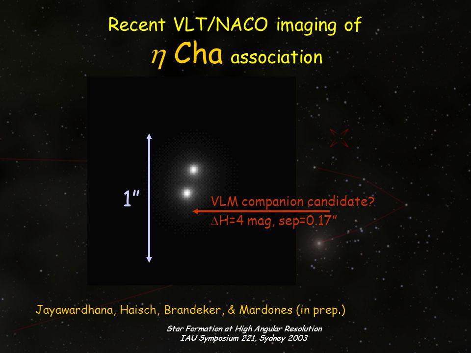 Star Formation at High Angular Resolution IAU Symposium 221, Sydney 2003 VLT/NACO contrast sensitivity VLM companion candidate M * =20M J M * =15M J M * =10M J 10 Myr BD models from Baraffe et al.