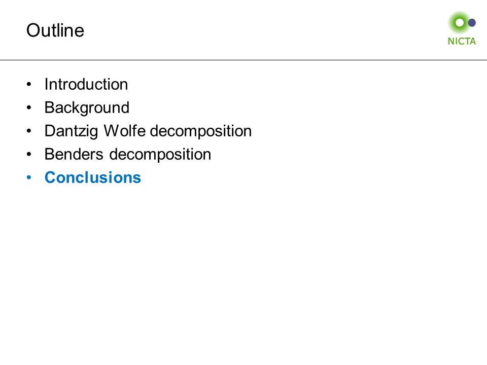 Outline Introduction Background Dantzig Wolfe decomposition Benders decomposition Conclusions