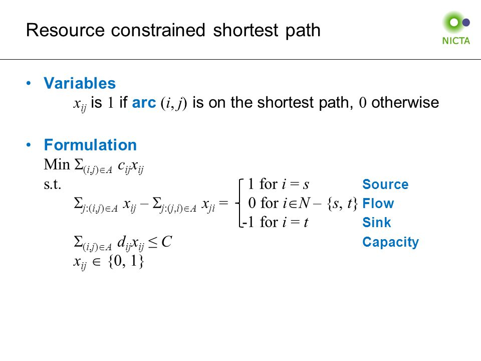 Resource constrained shortest path Variables x ij is 1 if arc (i, j) is on the shortest path, 0 otherwise Formulation Min  (i,j)  A c ij x ij s.t.