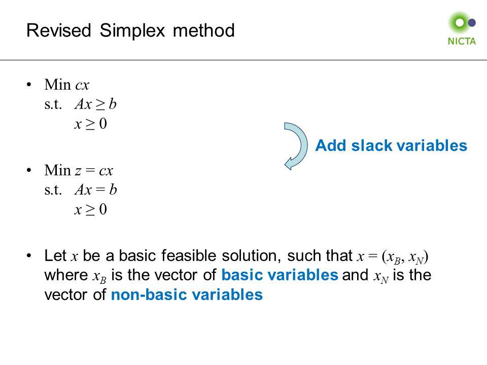 Revised Simplex method Min cx s.t.Ax ≥ b x ≥ 0 Min z = cx s.t.Ax = b x ≥ 0 Let x be a basic feasible solution, such that x = (x B, x N ) where x B is the vector of basic variables and x N is the vector of non-basic variables Add slack variables