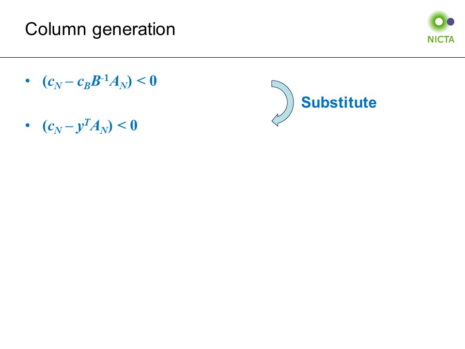 (c N – c B B -1 A N ) < 0 (c N – y T A N ) < 0 Column generation Substitute