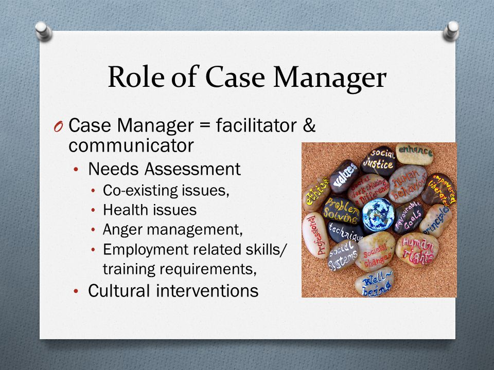Role of Case Manager O Case Manager = facilitator & communicator Needs Assessment Co-existing issues, Health issues Anger management, Employment related skills/ training requirements, Cultural interventions