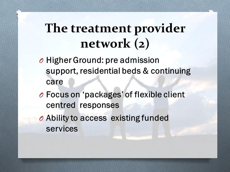 O Higher Ground: pre admission support, residential beds & continuing care O Focus on 'packages' of flexible client centred responses O Ability to access existing funded services The treatment provider network (2)
