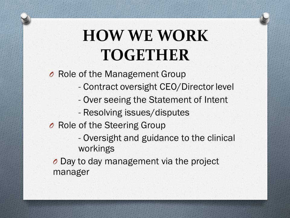 HOW WE WORK TOGETHER O Role of the Management Group - Contract oversight CEO/Director level - Over seeing the Statement of Intent - Resolving issues/d