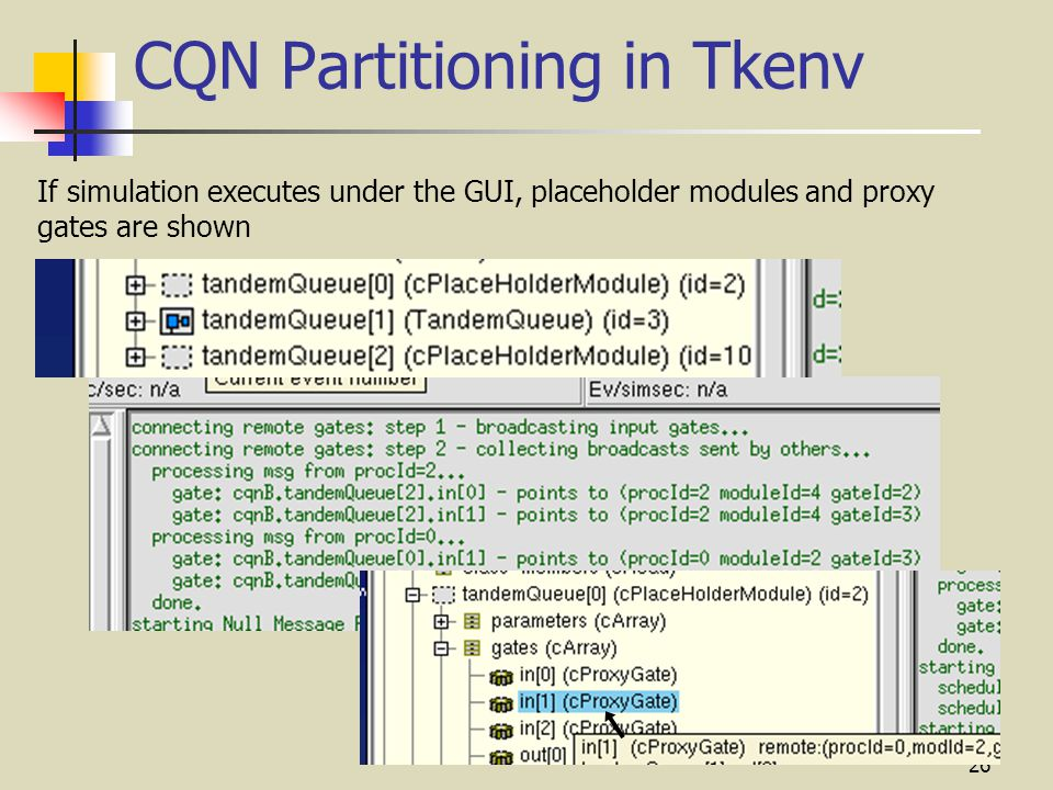 26 CQN Partitioning in Tkenv If simulation executes under the GUI, placeholder modules and proxy gates are shown