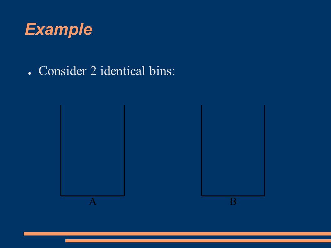 Example ● Consider 2 identical bins: BA