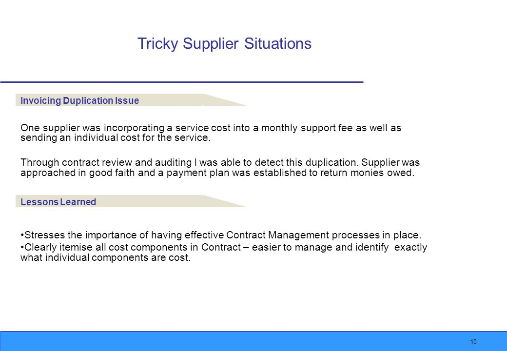 10 Tricky Supplier Situations Invoicing Duplication Issue One supplier was incorporating a service cost into a monthly support fee as well as sending an individual cost for the service.