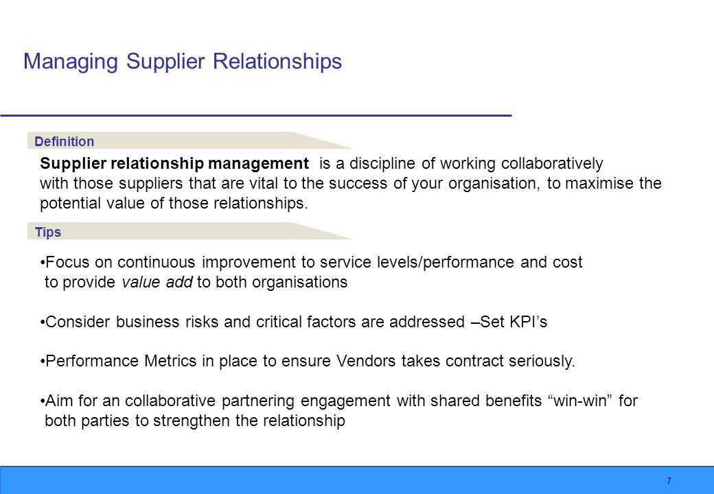 8 Performance Management Potential Performance Variations To minimise suppliers performance variation it is important to: Have clear deliverables documented in a Contract KPI and Core measures Rebates and Incentives Variations process in place Performance Management Reporting & Monitoring