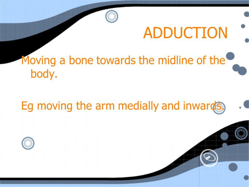 ELEVATION Lifting upwards.Eg shoulder blades when shrugging your shoulders.