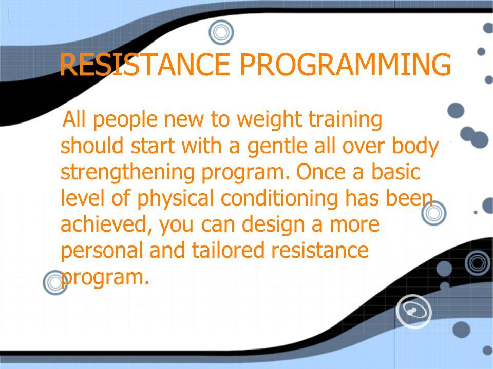 STEPS TO DESIGN A PROGRAM Goals Exercises Method Split programs Overload techniques Monitoring progress Goals Exercises Method Split programs Overload techniques Monitoring progress
