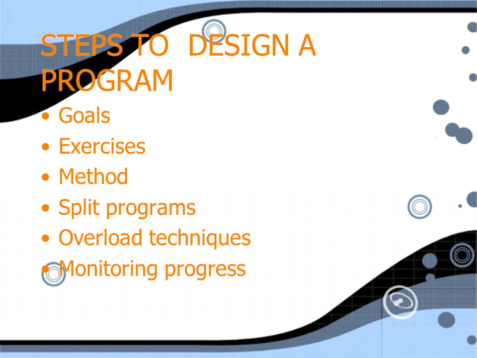 GOALS What are the client's goals.-build strength.