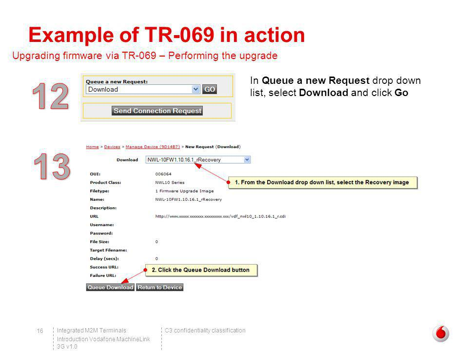C3 confidentiality classificationIntegrated M2M Terminals Introduction Vodafone MachineLink 3G v1.0 16 Example of TR-069 in action Upgrading firmware