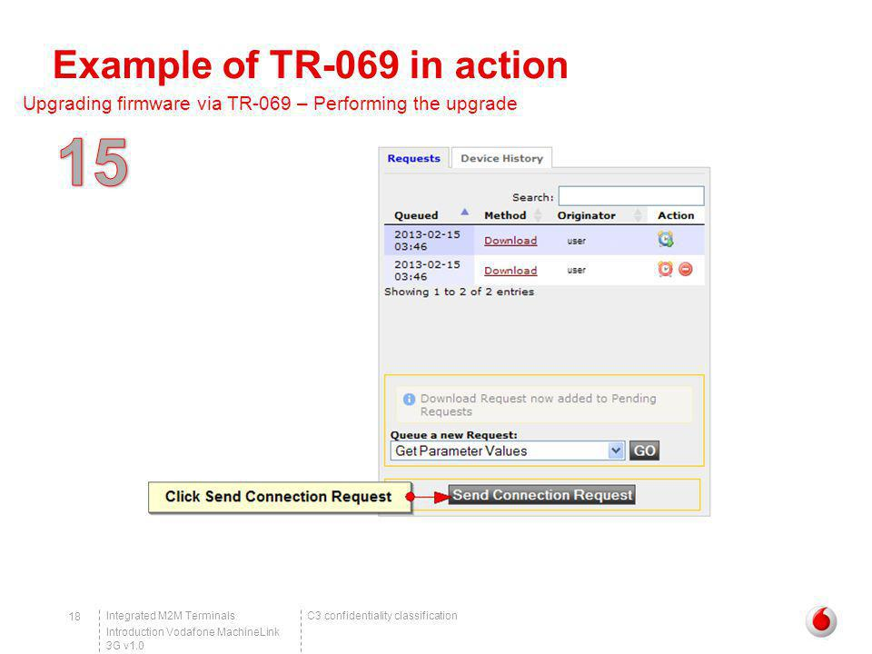 C3 confidentiality classificationIntegrated M2M Terminals Introduction Vodafone MachineLink 3G v1.0 18 Example of TR-069 in action Upgrading firmware