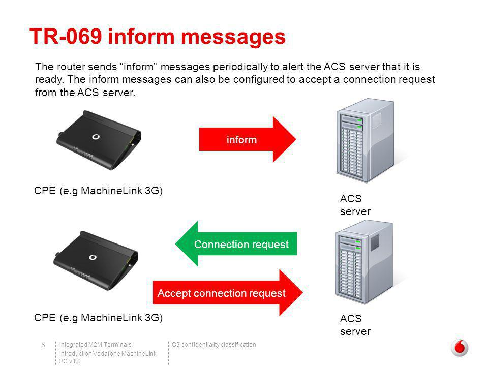 C3 confidentiality classificationIntegrated M2M Terminals Introduction Vodafone MachineLink 3G v1.0 16 Example of TR-069 in action Upgrading firmware via TR-069 – Performing the upgrade In Queue a new Request drop down list, select Download and click Go