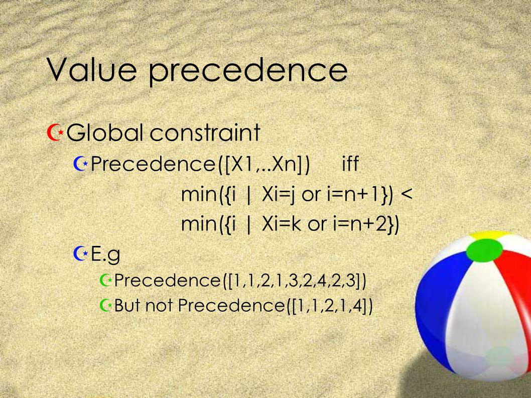 Value precedence ZGlobal constraint ZPrecedence([X1,..Xn]) iff min({i | Xi=j or i=n+1}) < min({i | Xi=k or i=n+2}) ZE.g ZPrecedence([1,1,2,1,3,2,4,2,3]) ZBut not Precedence([1,1,2,1,4])