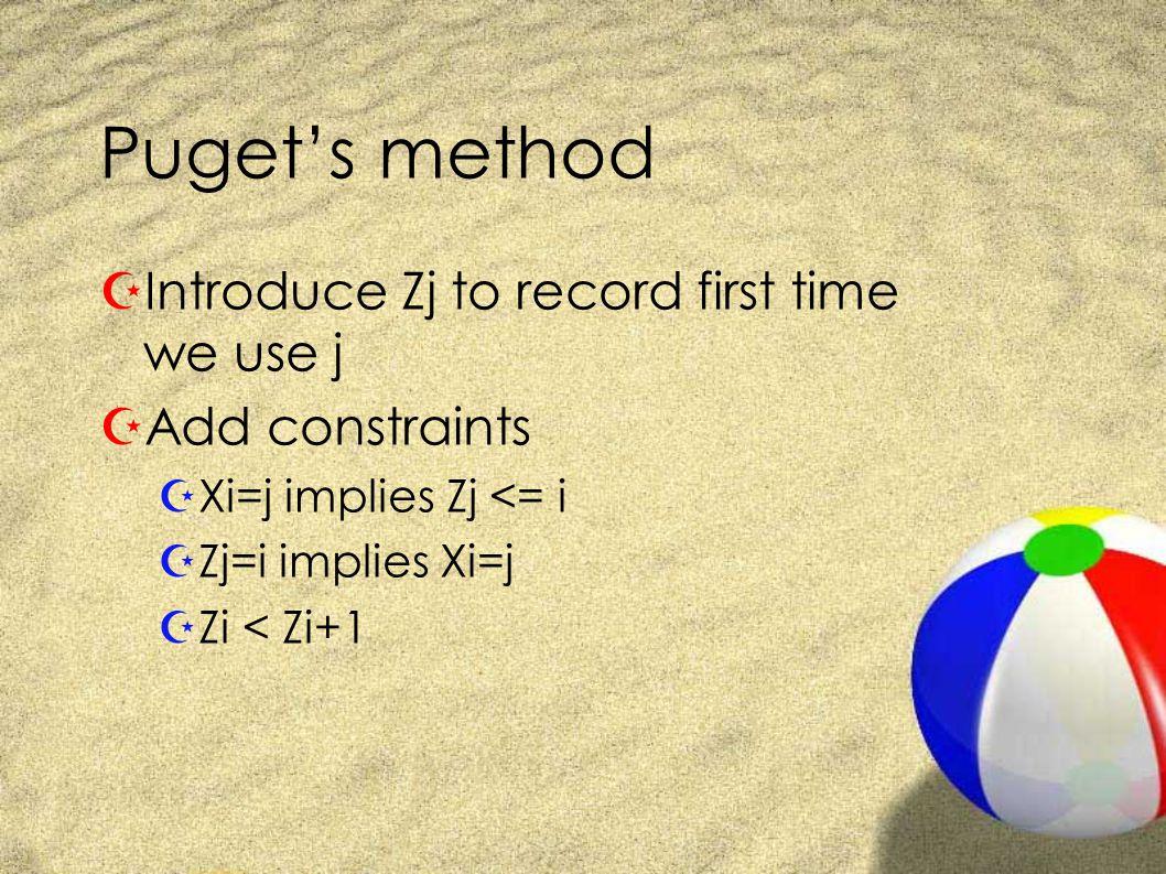 Puget's method ZIntroduce Zj to record first time we use j ZAdd constraints ZXi=j implies Zj <= i ZZj=i implies Xi=j ZZi < Zi+1