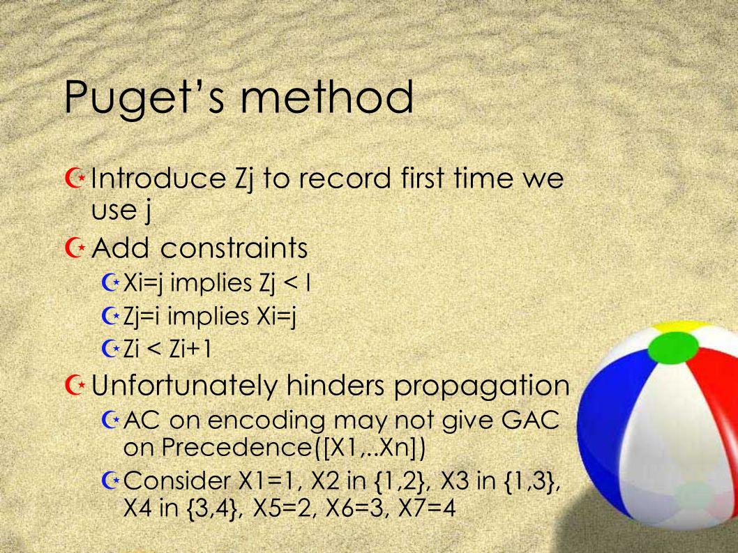 Puget's method ZIntroduce Zj to record first time we use j ZAdd constraints ZXi=j implies Zj < I ZZj=i implies Xi=j ZZi < Zi+1 ZUnfortunately hinders propagation ZAC on encoding may not give GAC on Precedence([X1,..Xn]) ZConsider X1=1, X2 in {1,2}, X3 in {1,3}, X4 in {3,4}, X5=2, X6=3, X7=4