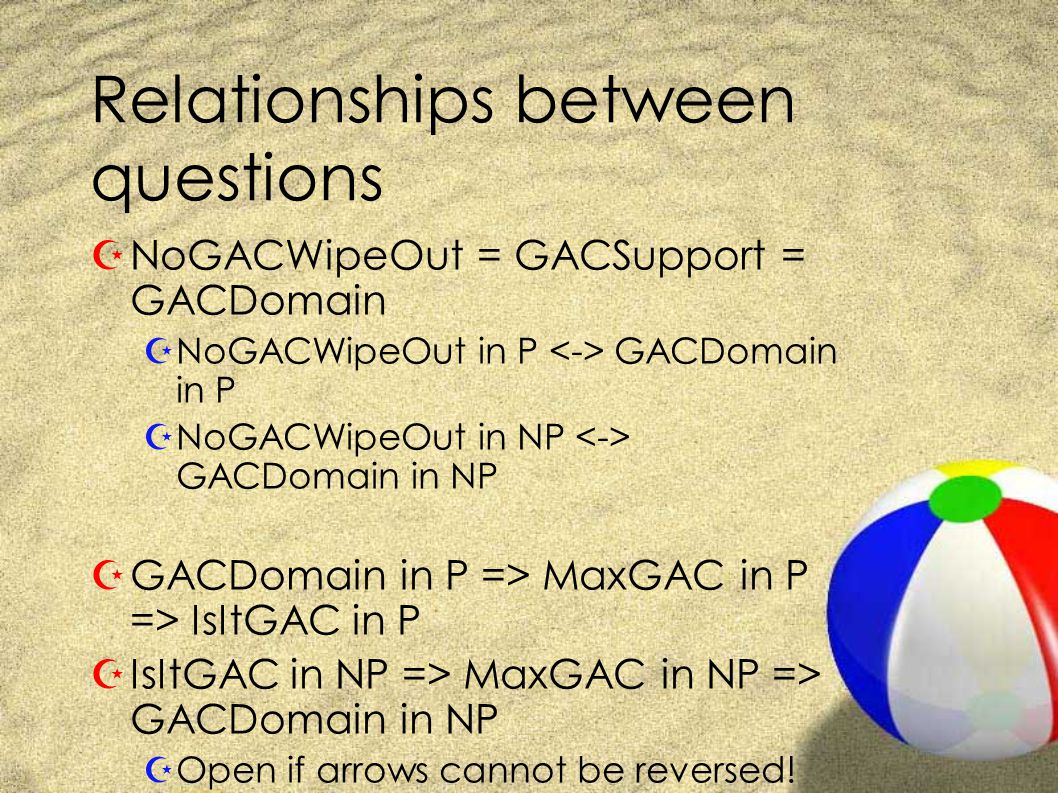 Relationships between questions ZNoGACWipeOut = GACSupport = GACDomain ZNoGACWipeOut in P GACDomain in P ZNoGACWipeOut in NP GACDomain in NP ZGACDomain in P => MaxGAC in P => IsItGAC in P ZIsItGAC in NP => MaxGAC in NP => GACDomain in NP ZOpen if arrows cannot be reversed!