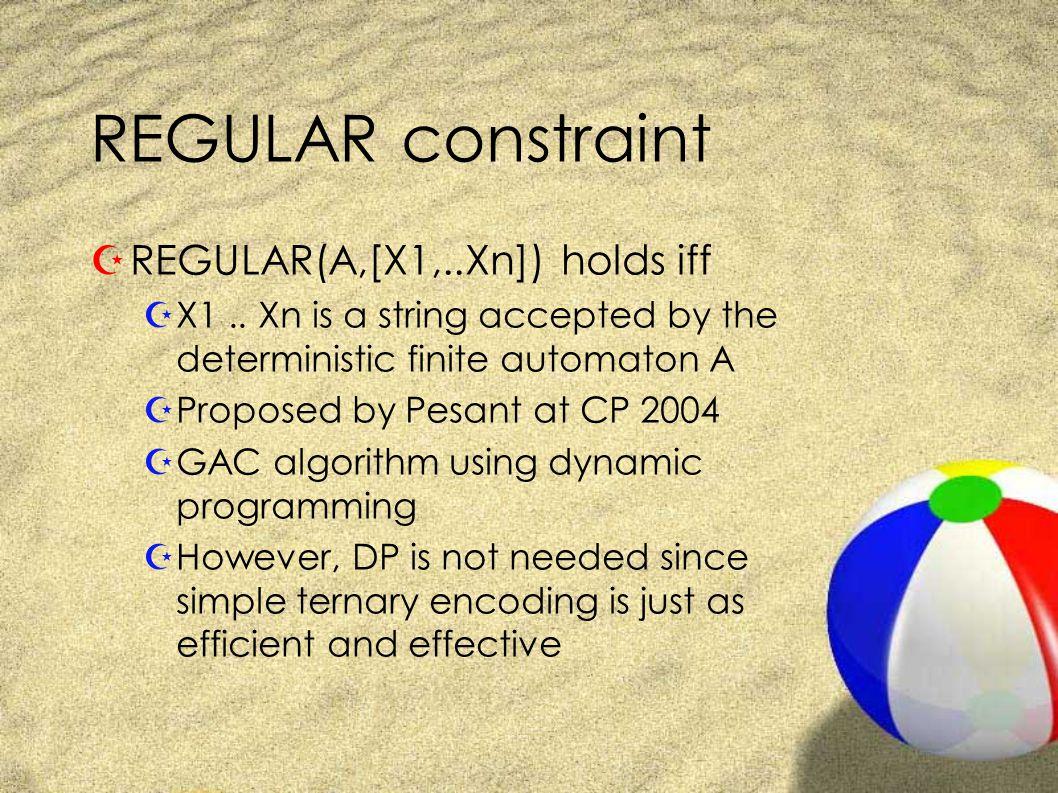 REGULAR constraint ZREGULAR(A,[X1,..Xn]) holds iff ZX1..