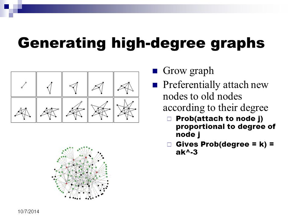 10/7/2014 Generating high-degree graphs Grow graph Preferentially attach new nodes to old nodes according to their degree  Prob(attach to node j) proportional to degree of node j  Gives Prob(degree = k) = ak^-3