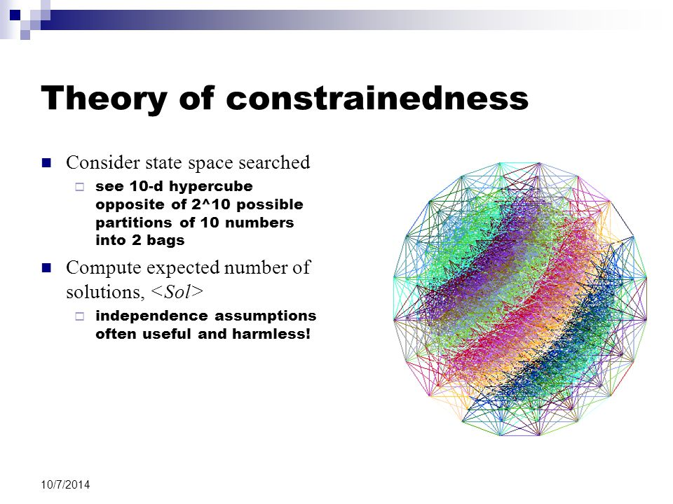 10/7/2014 Theory of constrainedness Consider state space searched  see 10-d hypercube opposite of 2^10 possible partitions of 10 numbers into 2 bags Compute expected number of solutions,  independence assumptions often useful and harmless!