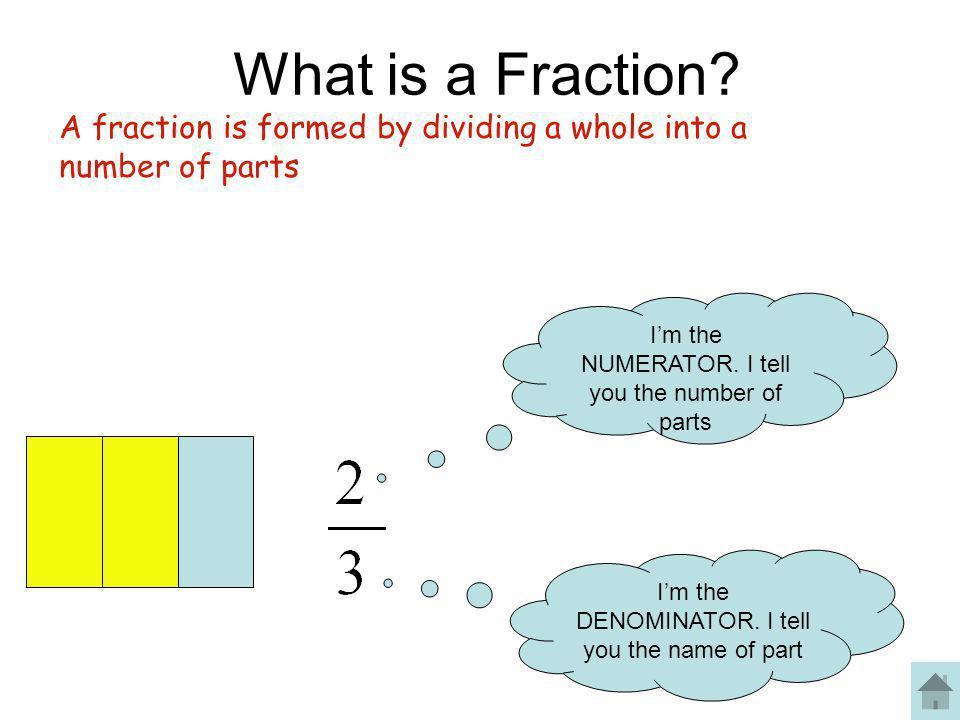What is a Fraction? I'm the NUMERATOR. I tell you the number of parts I'm the DENOMINATOR. I tell you the name of part A fraction is formed by dividin