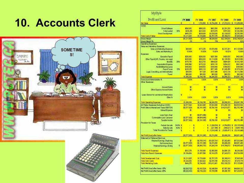 10. Accounts Clerk I like working with numbers SOMETIME S!