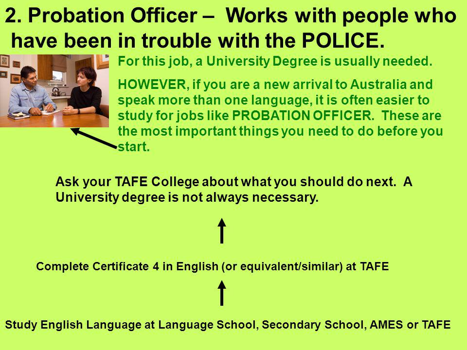 2. Probation Officer – Works with people who have been in trouble with the POLICE. For this job, a University Degree is usually needed. HOWEVER, if yo