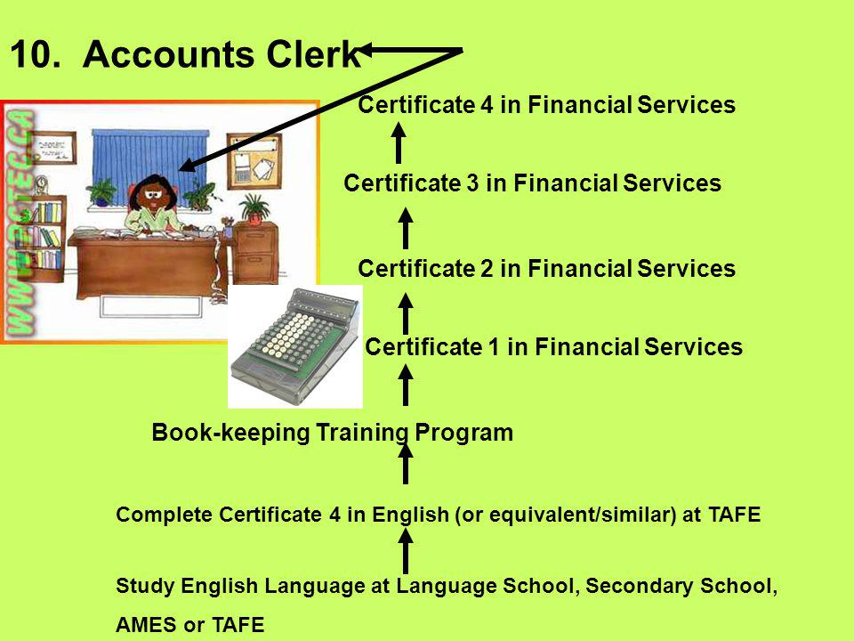 10. Accounts Clerk Study English Language at Language School, Secondary School, AMES or TAFE Complete Certificate 4 in English (or equivalent/similar)