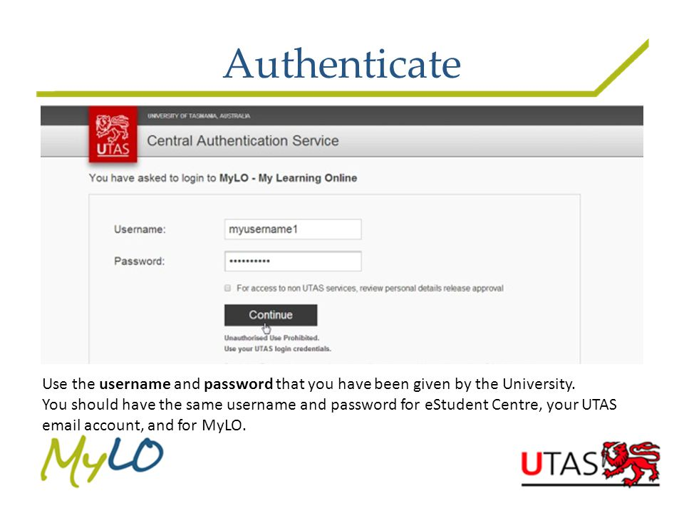 Authenticate Use the username and password that you have been given by the University.