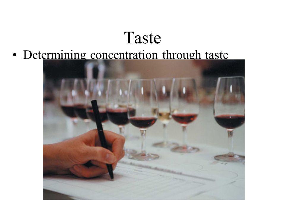 Taste Determining concentration through taste