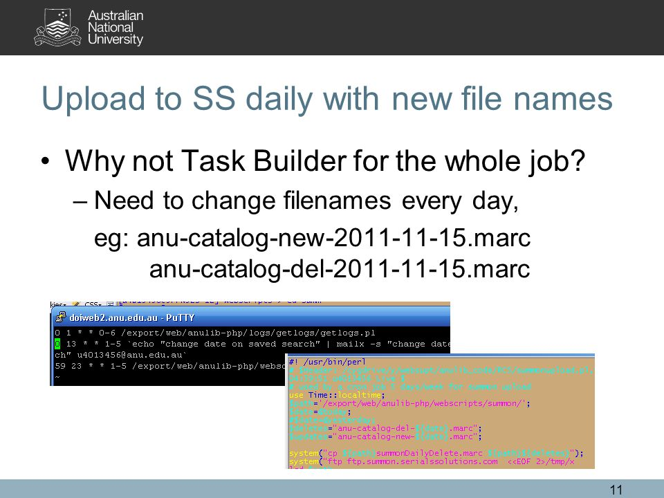 Upload to SS daily with new file names Why not Task Builder for the whole job.