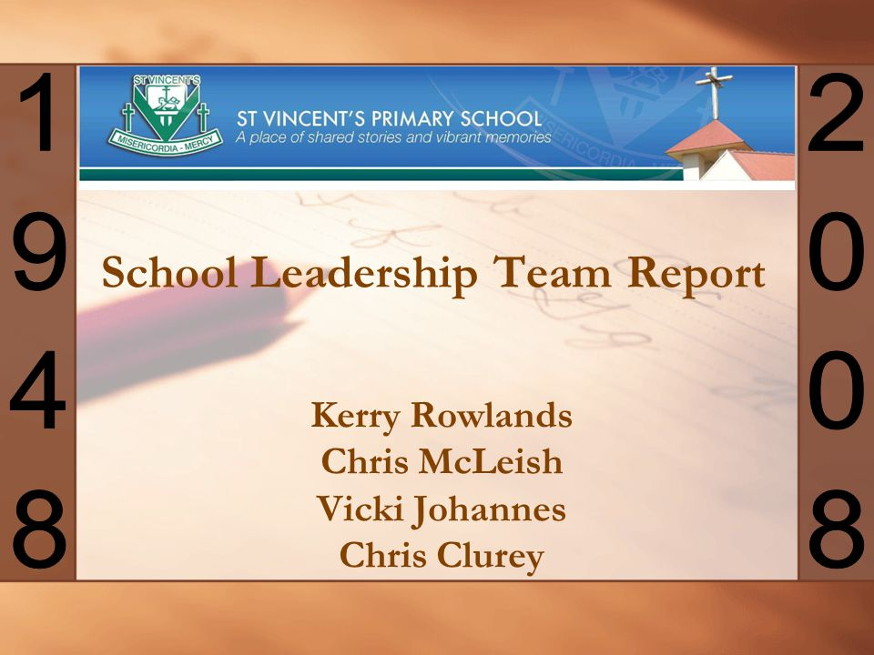School Leadership Team Report Kerry Rowlands Chris McLeish Vicki Johannes Chris Clurey