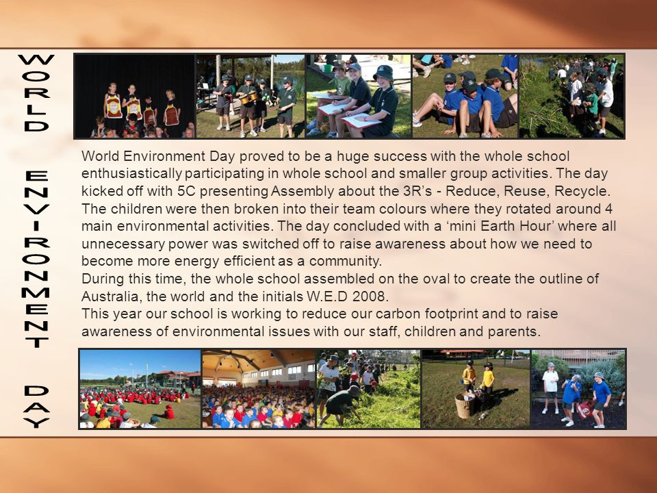 World Environment Day proved to be a huge success with the whole school enthusiastically participating in whole school and smaller group activities. T