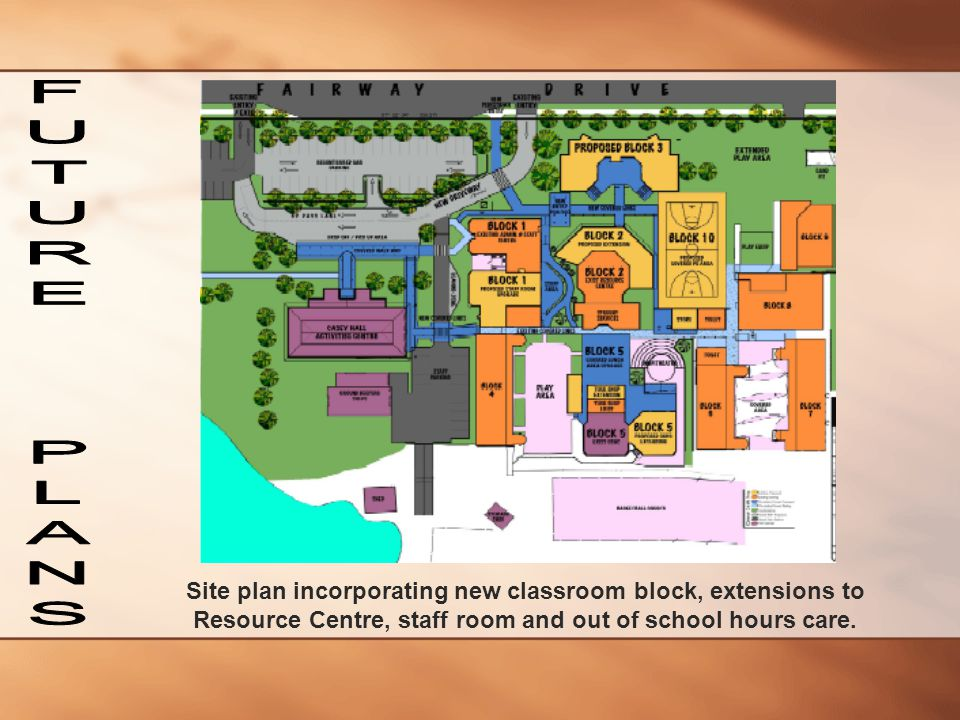 Site plan incorporating new classroom block, extensions to Resource Centre, staff room and out of school hours care.