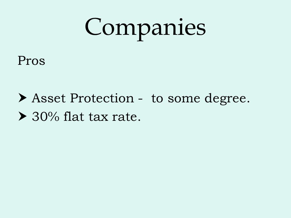 Companies Pros  Asset Protection - to some degree.  30% flat tax rate.