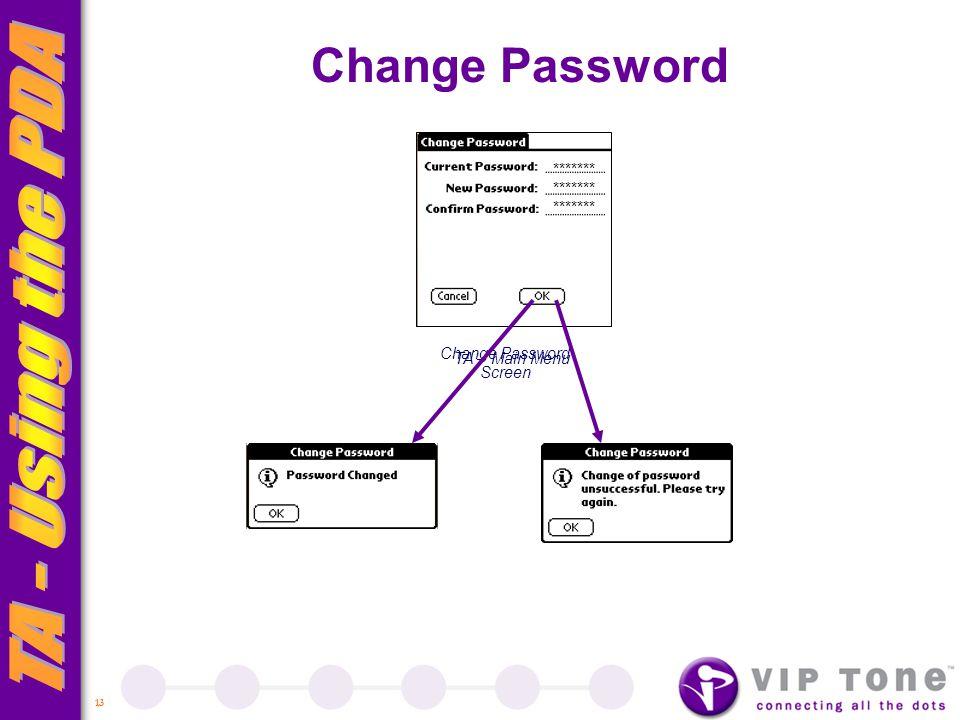 13 TA – Main Menu Change Password Change Password Screen *******