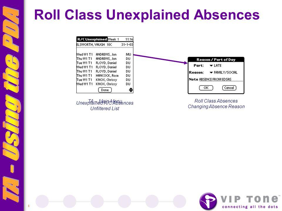 8 TA – Main Menu Roll Class Unexplained Absences Roll Class Absences Changing Absence Reason Unexplained R/C Absences Unfiltered List